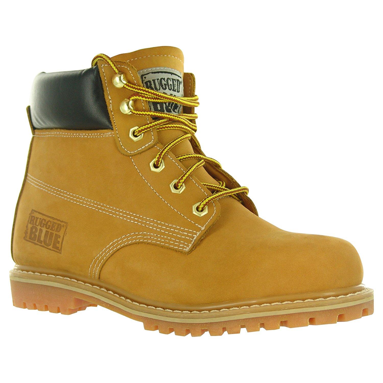 Size 9M Rugged Blue MS001 Nubuck Leather Steel Toe Waterproof Mens Work Boot Tan Online Stores MS001-Tan-9M