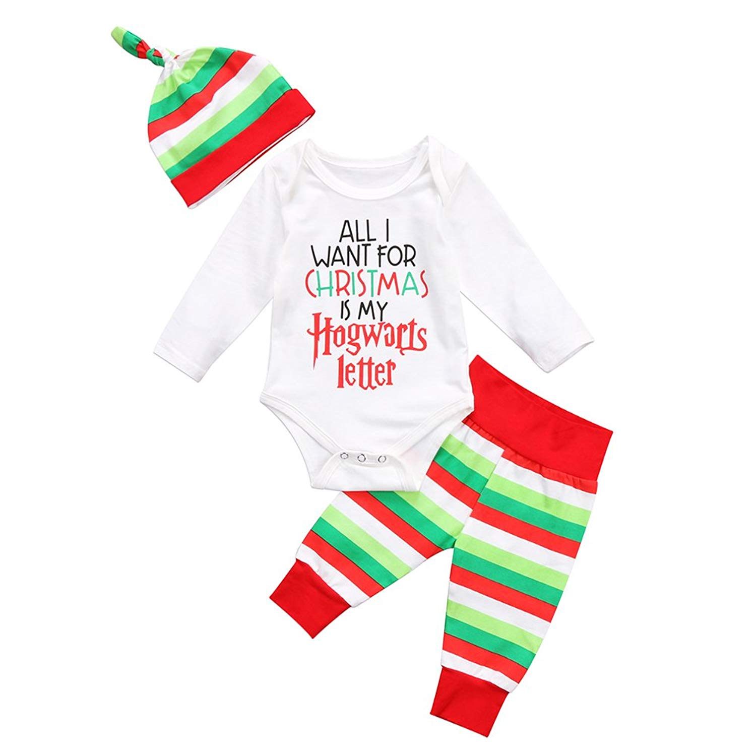7decb8da1 Get Quotations · Cute Newborn Infant Baby Girl Boy Long Sleeve Christmas  Romper+Striped Pants with Hat Outfit