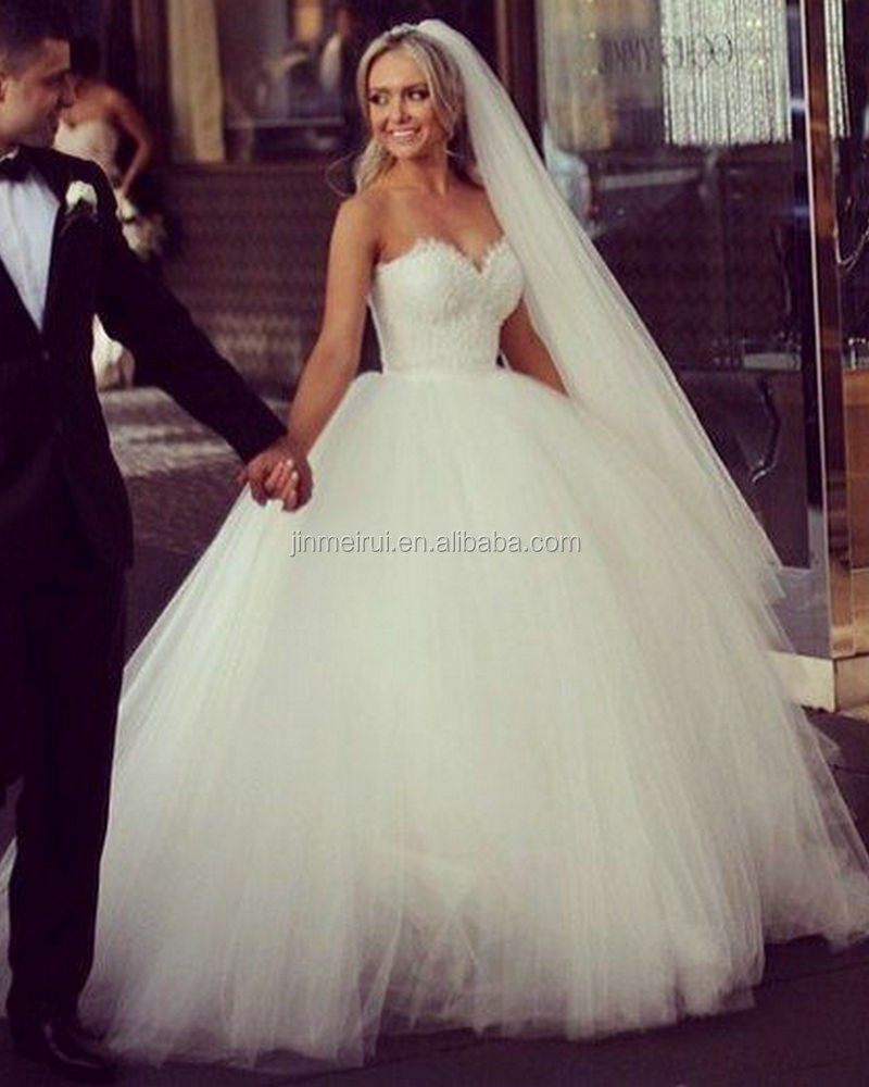 White Tulle And Lace Princess Wedding Dress With Lace Up Back