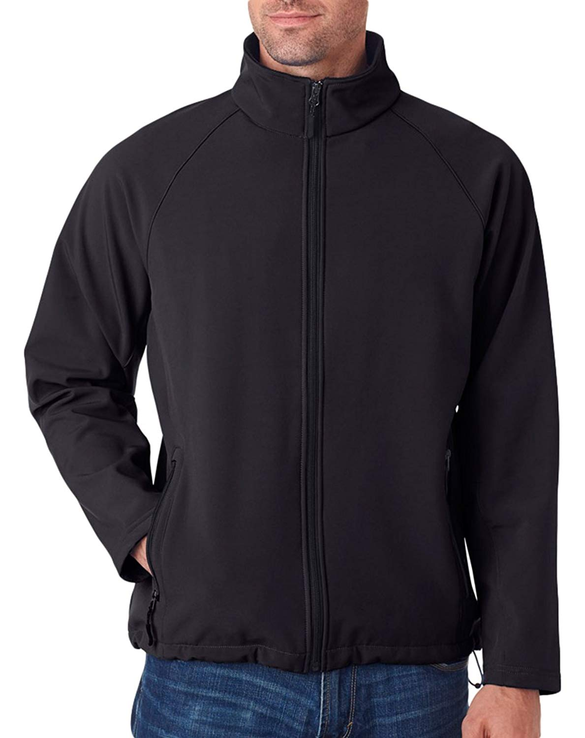 UltraClub Men's Wind Resistant Soft Shell Zipper Jacket, XXX Large, Black