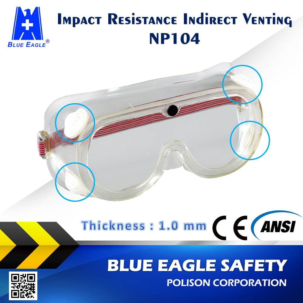 Workplace Safety Supplies NP104 indirect venting ANSI Z87.1 dustproof safety working glasses