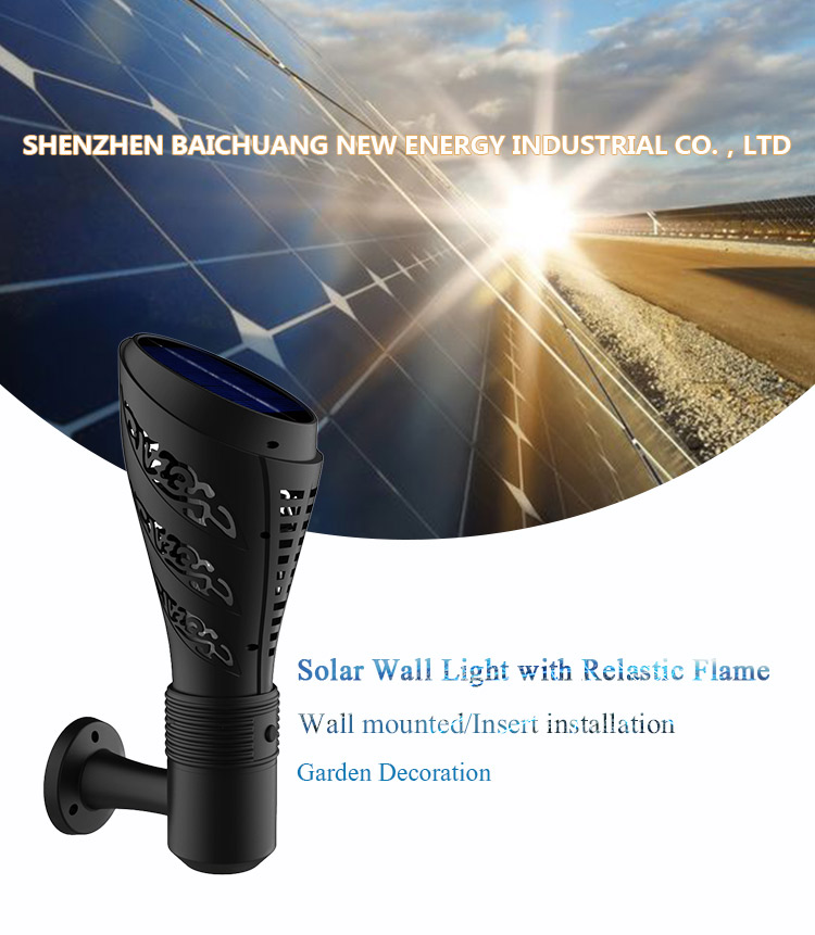 New design 135 led outdoor solar security wall light with Flickering Flame used in the gardren or fence