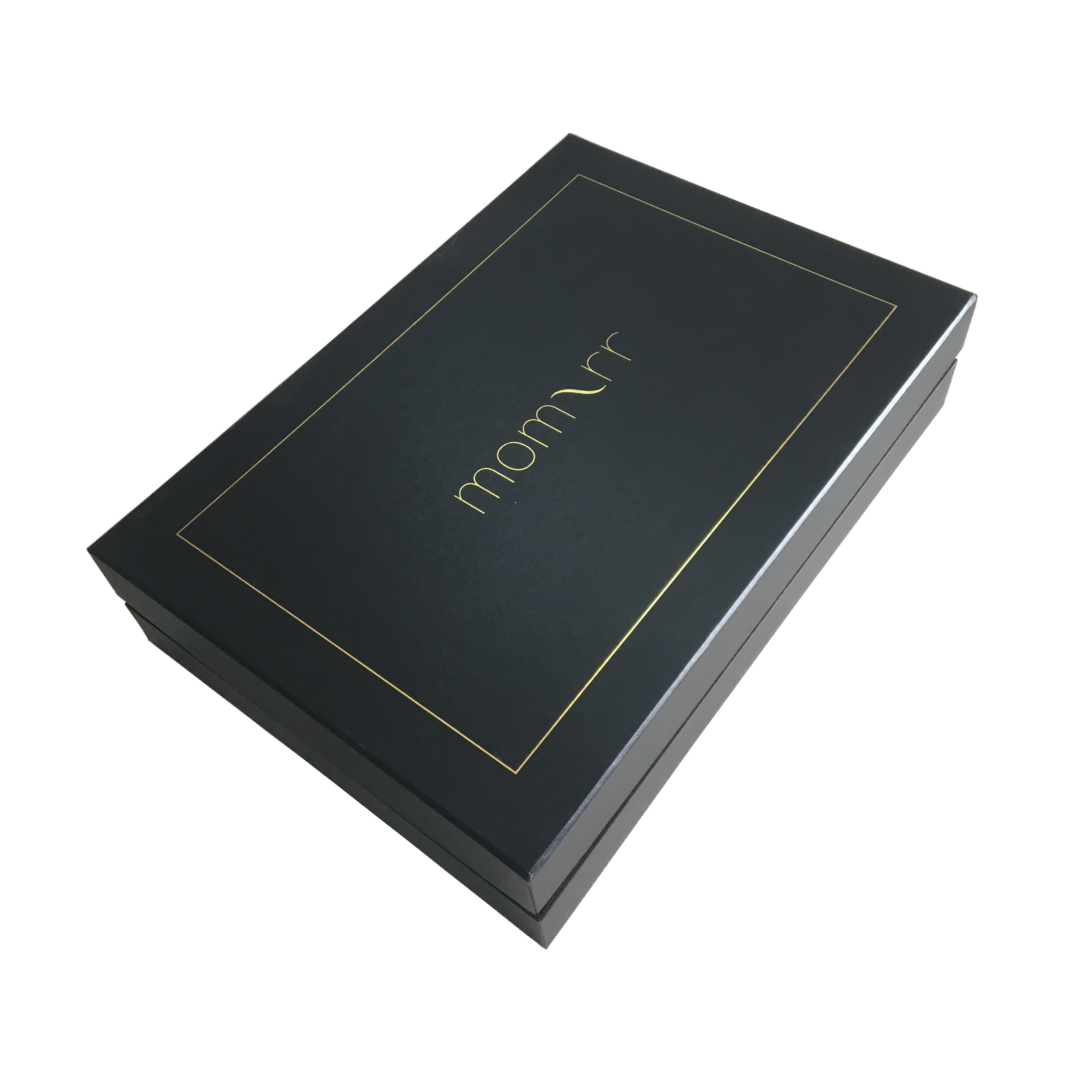 Top Bottom Design Golden Frame Design Hot Stamping <strong>Black</strong> And Golden Christmas Gift Packing Box