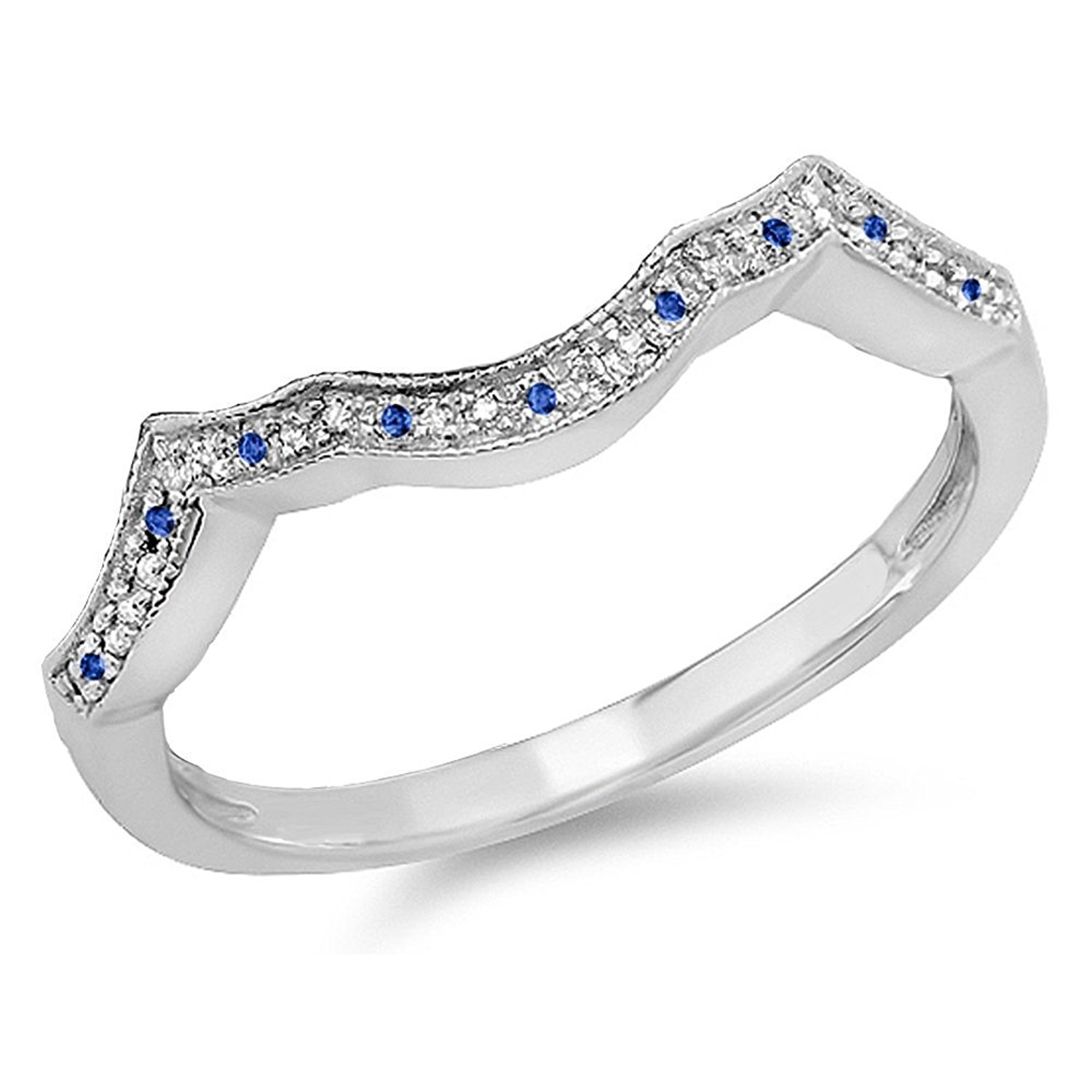 DazzlingRock Collection 14K White Gold Round Blue Sapphire & White Diamond Ladies Wedding Stackable Band Anniversary Guard Ring