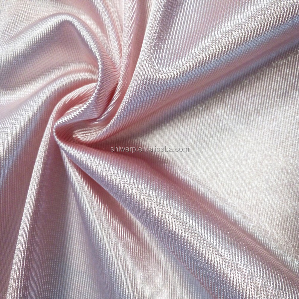 Polyester tricot shiny dazzle fabric for smooth waterproof garment material
