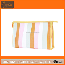 Candy color fashion custom colorful stripes pu leather toiletry bag