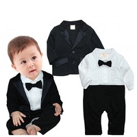 Baby Boy Jumpsuit Romper 2Pcs Long Sleeve Toddler Tuxedo Gentleman Clothes Outfit With Bowtie Coat Boys Wedding Suits Y10701
