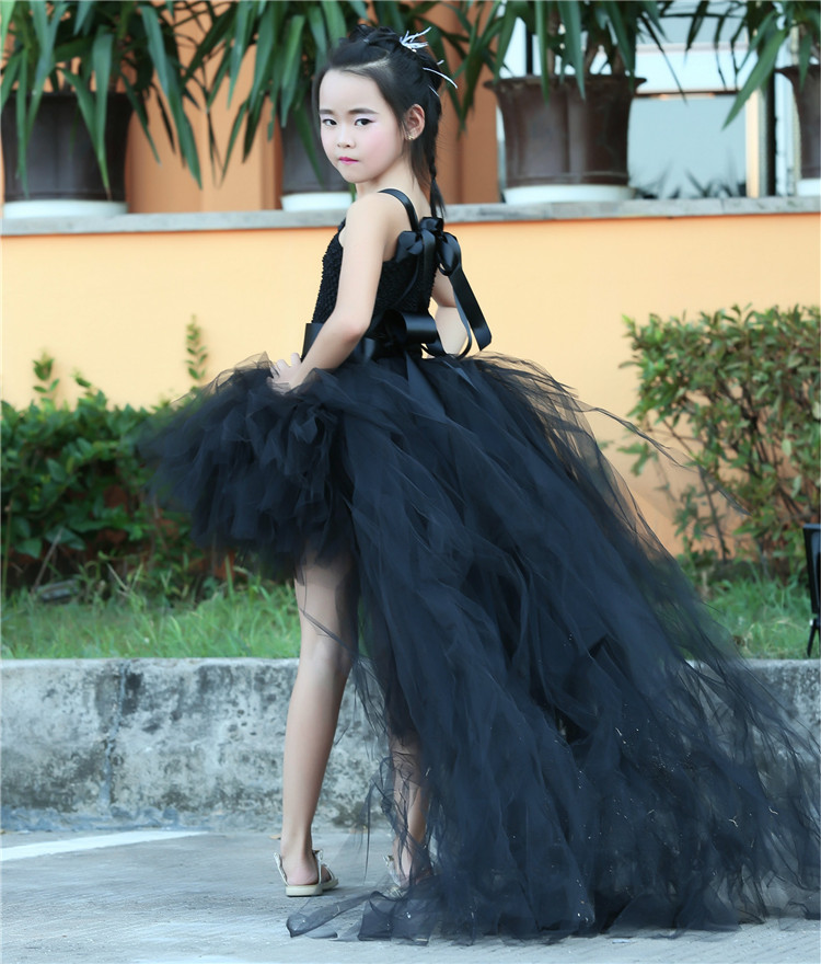Long Train Tail Girls Tulle Tutu Dress Baby Party Frocks Elegant Black Birthday Dancing Festival Party Dresses