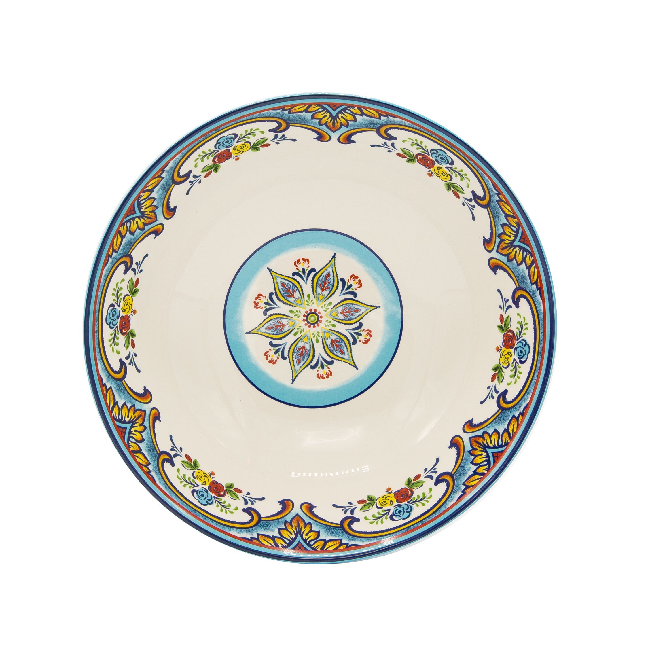 "Euro Ceramica Zanzibar Collection Vibrant 12.75"" Ceramic Round Serving/Salad Bowl, Spanish Floral Design, Multicolor"