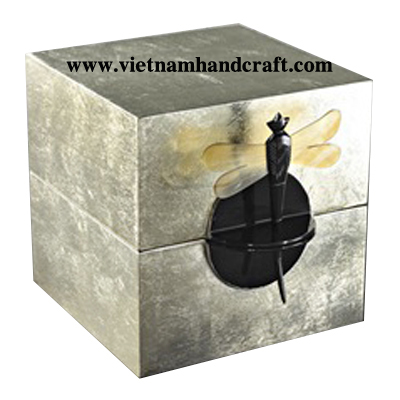 Best quality eco-friendly traditionally handmade silver leaf lacquer bamboo jewelry boxes with buffalo horn dragonfly pin