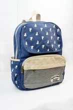 New Style Fashionable Canvas Zip Bohemia Boho Style Backpack School College Laptop Bag for Teens Girls Students, Blue
