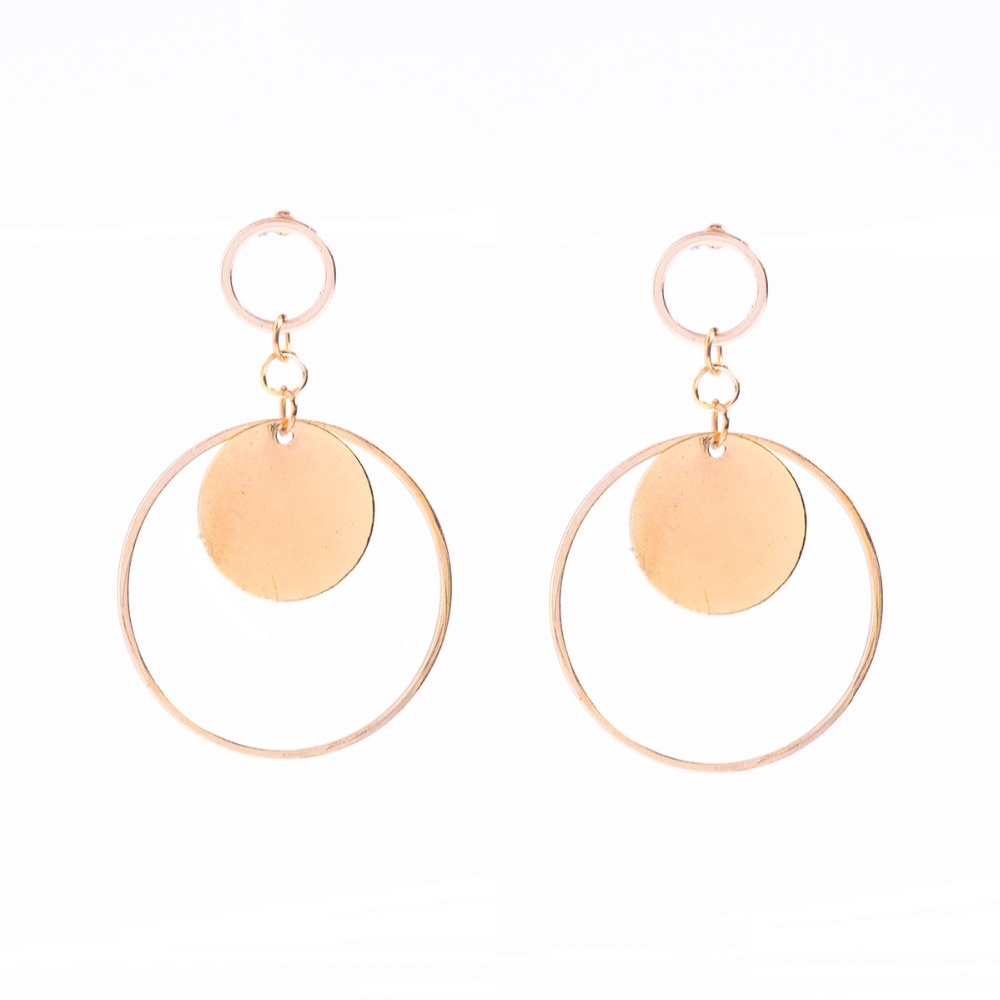 Gold Disc Circle Earrings Double Sided Stud Earrings