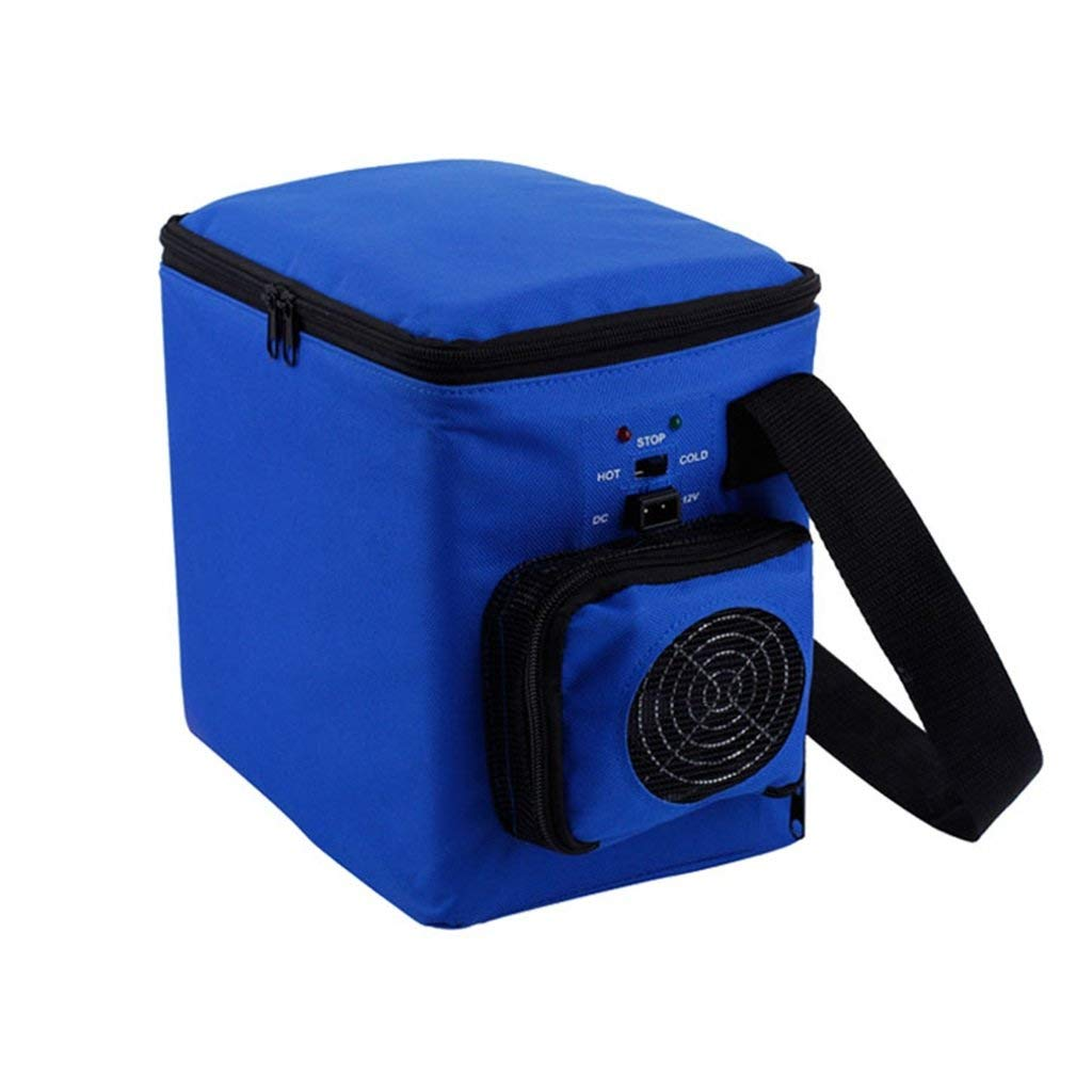 Peaceip 6L Mini Car Small Refrigerator Car Dual-use Car Portable Heating And Cooling Box Beverage Refrigeration Heating Dormitory Office Refrigerator (Color : Blue, Size : Car and home)