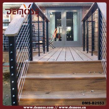 Madera al aire libre y cuerda de hierro barandillas para for Escalera de madera al aire libre precio