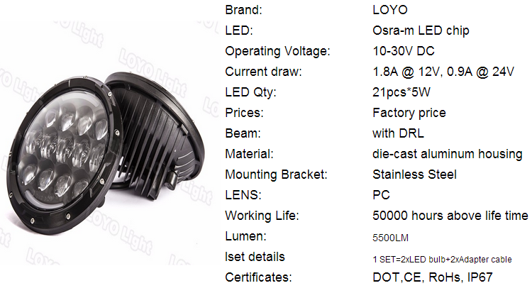 LOYO brand super 7 inch 105w halo led headlights for jeep grand cherokee overland lights