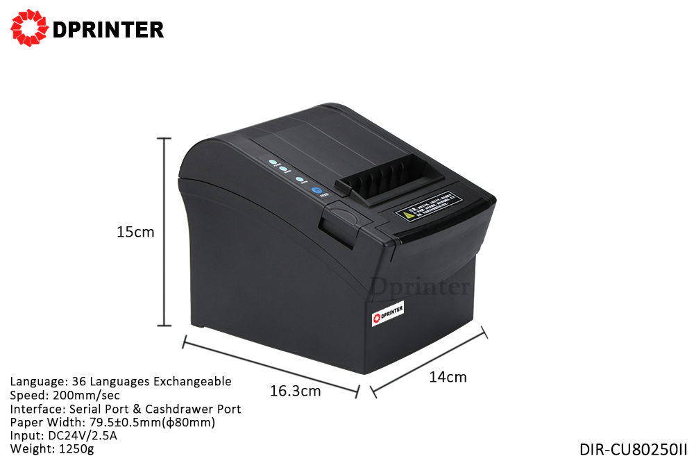 25-Pin COM 80mm Desktop Thermal Receipt Pos Printer with AUTO CUTTER Never Stuck Paper