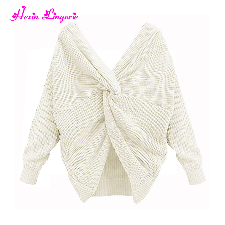 Latest Fashion Ladies Sexy V neck BackTie Pullover Knitted Fancy New Design Girl Sweater