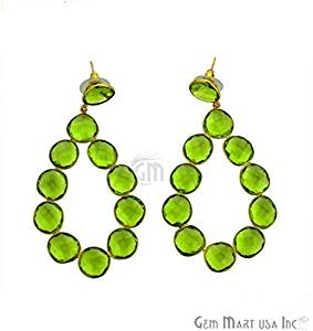 Hydro Peridot Gemstone Bezel Component Earnings 24k Gold Plated, 77x40mm,1 Pair (PHER-90035)