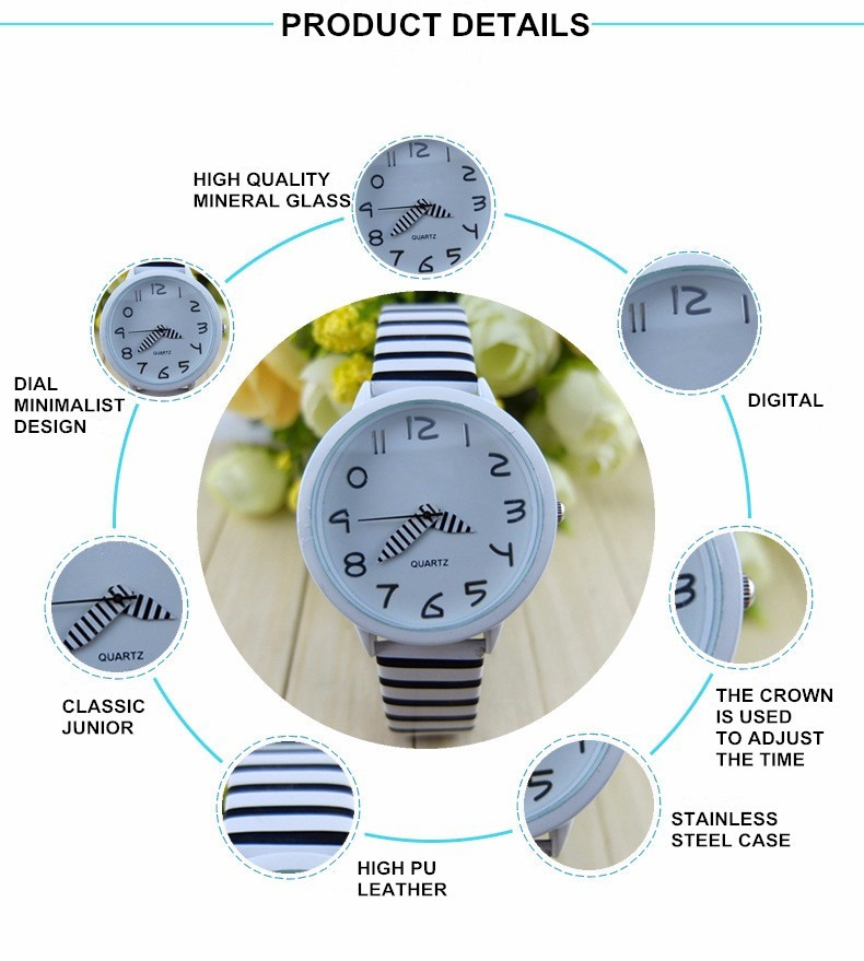 Cute Digital Striped Strap Quartz Sport Kids Watch Student Casual Leather Wristwatch Women Dress Watches Relogio Feminino