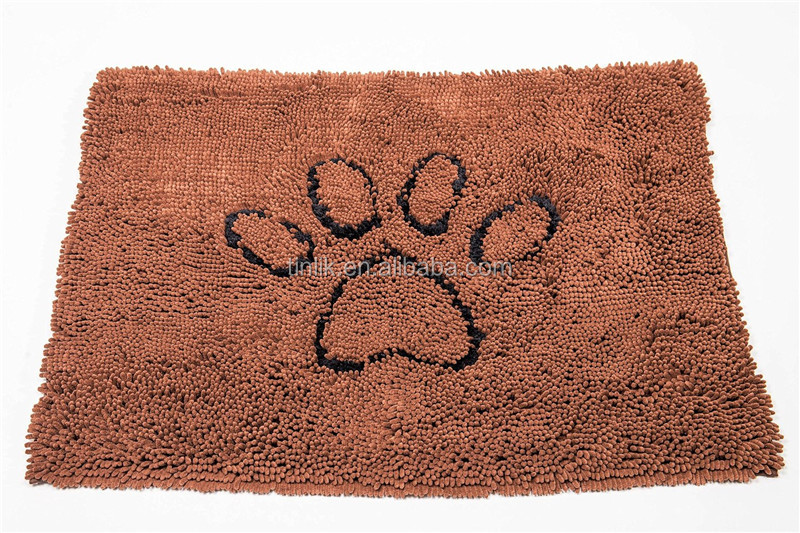 Low Price Wholesale Quick drying exceptionally durable Non-skid Pet Microfiber Chenille Dog Doormat