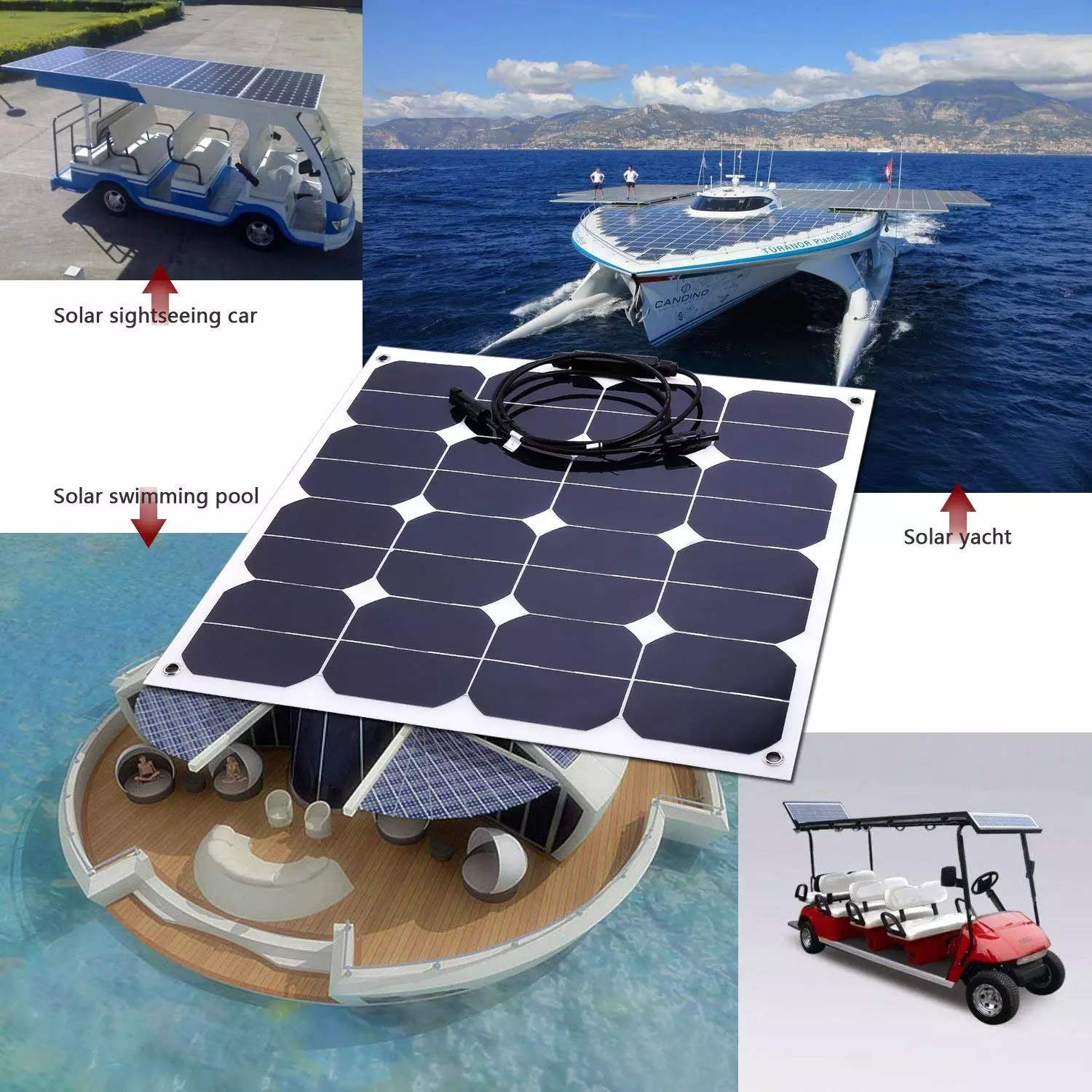 Hot sell low price light weight 500 watt solar panel for RV / Boats