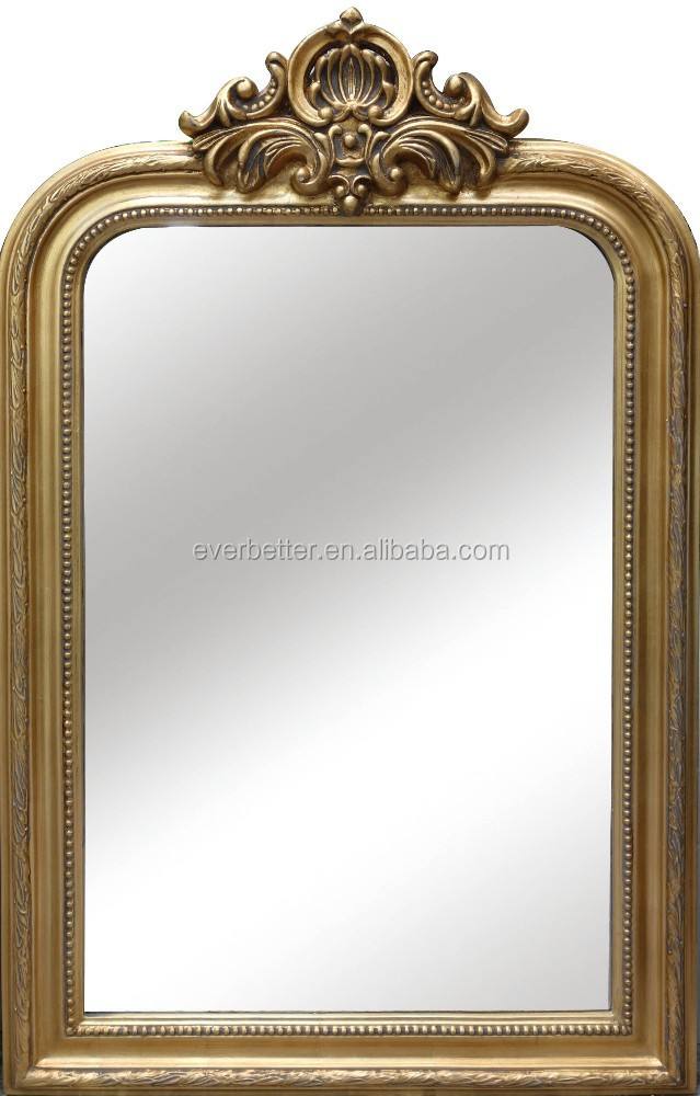 Antique Gold Pu Wall Framed Mirror With Resin Crown - Buy Antique ...