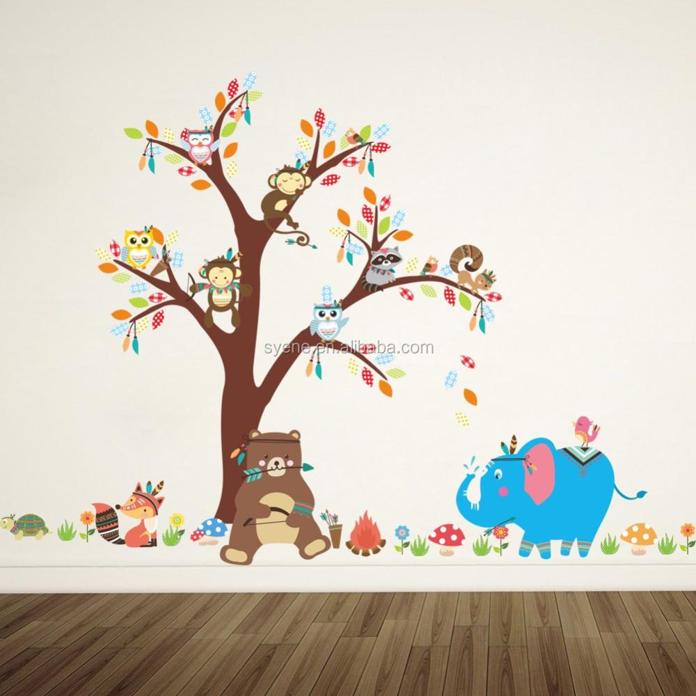 Foto Sticker Muur.Syene 3d Muur Baksteen Sticker Muur Art Mural Cartoon Dieren Aap