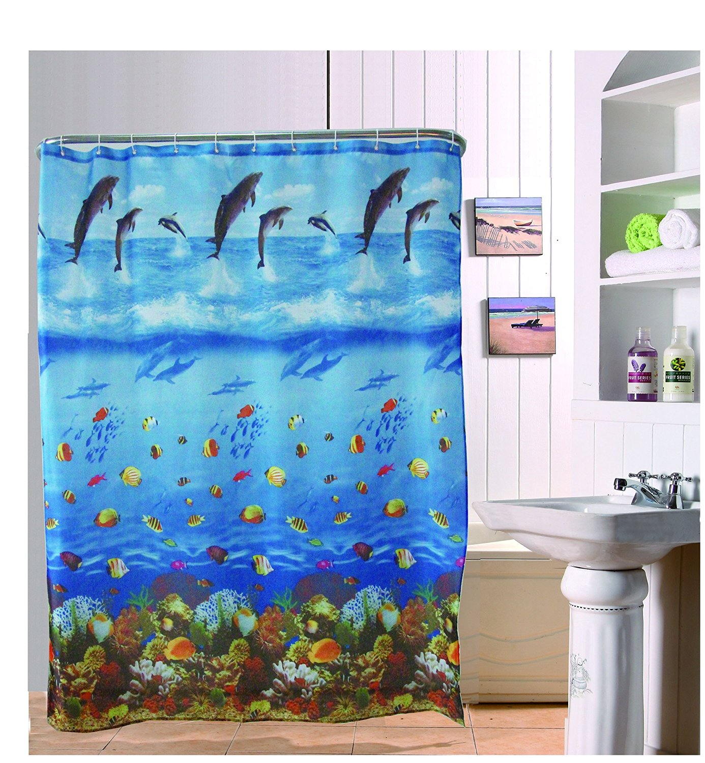 Get Quotations Orange Painting Sketch Style Streets Bathroom Curtain Shower Liner Water Repellent Polyester Fabric