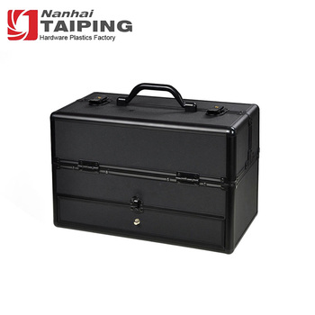 High Quality Black 6 Tier Aluminum Train Makeup Cosmetic Case With Shoulder Strap