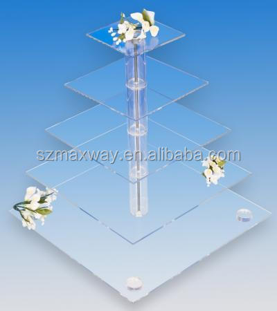 Clear acrylic plexiglass pillars cake stand for wedding or party