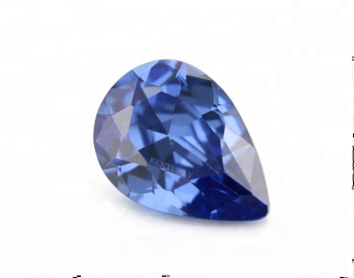 Machine Cut Lab Created Pear Tanzanite Cz Gems
