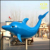 Amusement Park Fiberglass Animal Marine Organism Color Painting Dolphin Sculpture