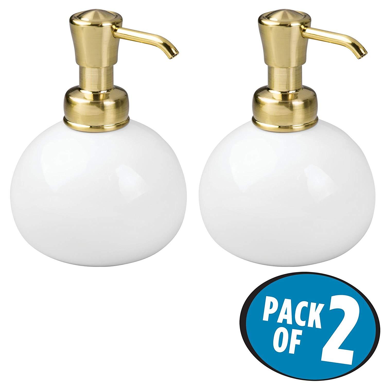 mDesign Retro Small Round Refillable Liquid Hand Soap Ceramic Dispenser Pump Bottle, Farmhouse Decor - for Kitchen, Bathroom - Also for Hand Lotion & Essential Oils - Pack of 2, White/Soft Brass