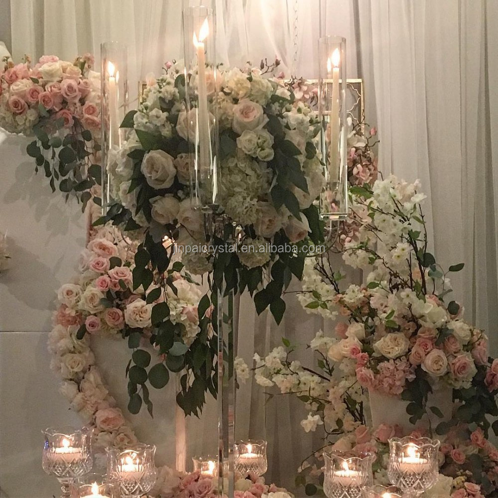 wholesale candelabras centerpieces with flower bowl for table decoration