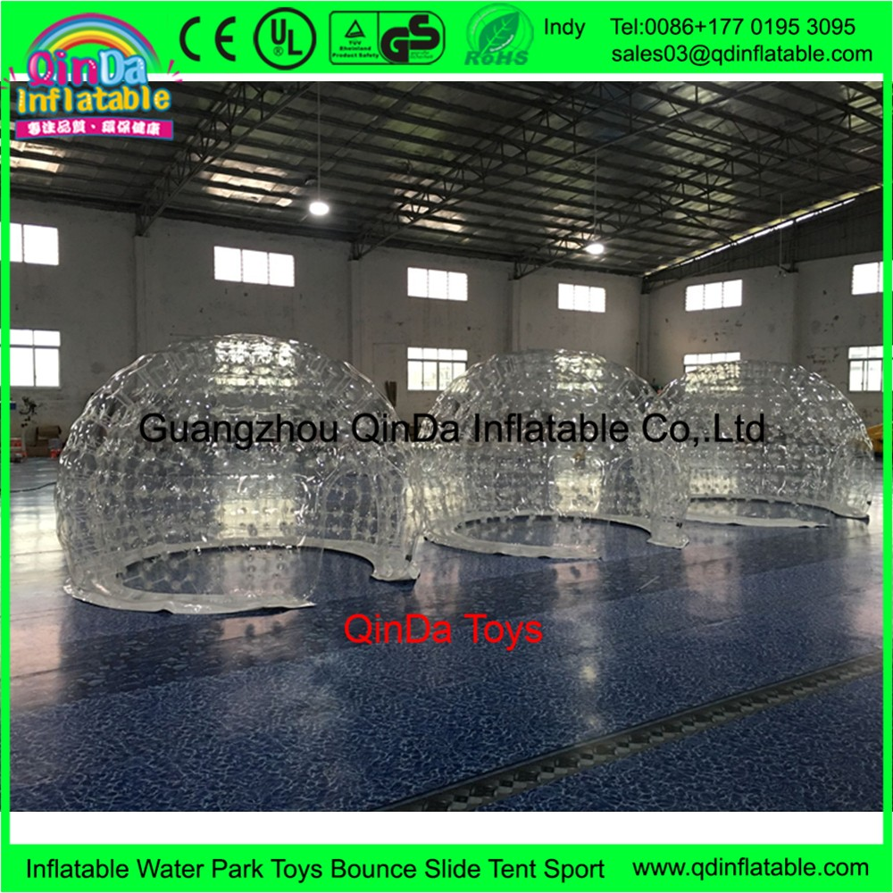 Outdoor camping white igloo inflatable bubble tent,clear inflatable lawn tent