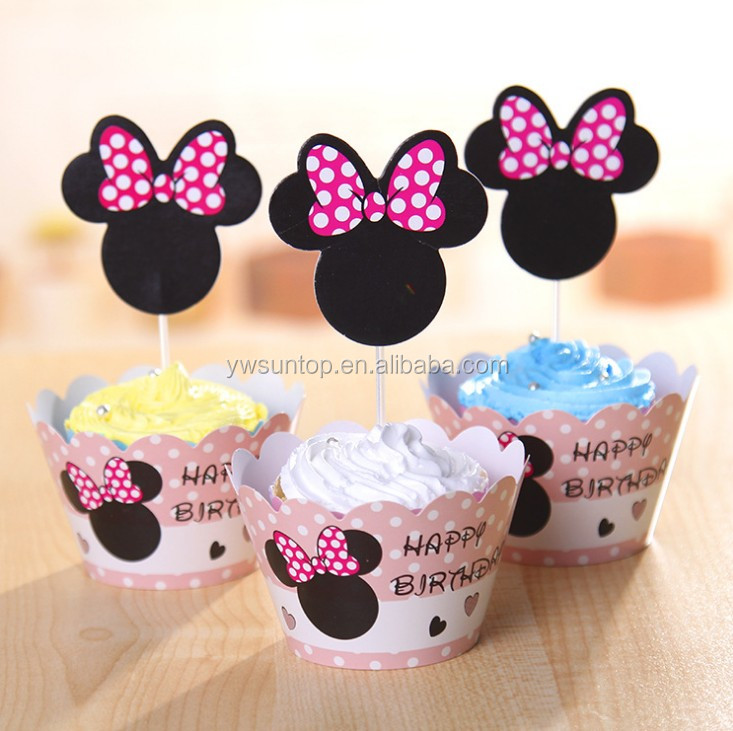 New Version minnie mouse paper cupcake wrappers & toppers picks wedding party <strong>decorations</strong> favors supplies