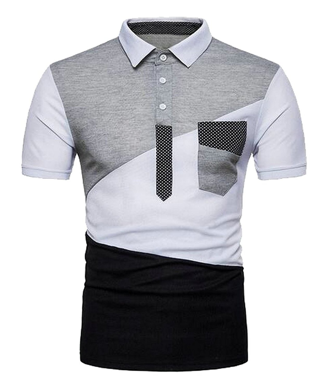 20a1769cc1c Get Quotations · Fensajomon Mens Casual Dress Color Block Short Sleeve Golf Polo  Shirt T-Shirt Top
