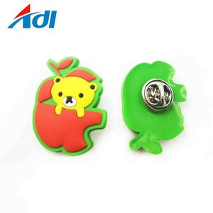 custom rubber logo embossed silicone label 3D PVC school lapel pin square badges