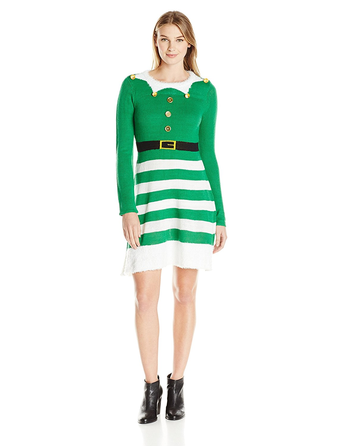 4b8de307fd7 Get Quotations · Allison Brittney Women s Fit and Flare Elf Ugly Christmas Sweater  Dress