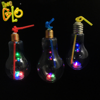 Promotional items led the light bulb shaped drinking cup light bulb bottle glass with straw