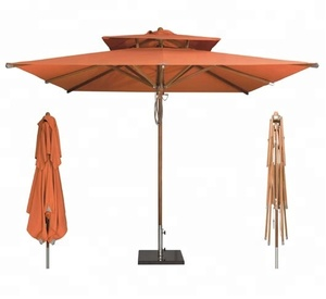 Deluxe Commercial Teak Wood Umbrella with Double Layers