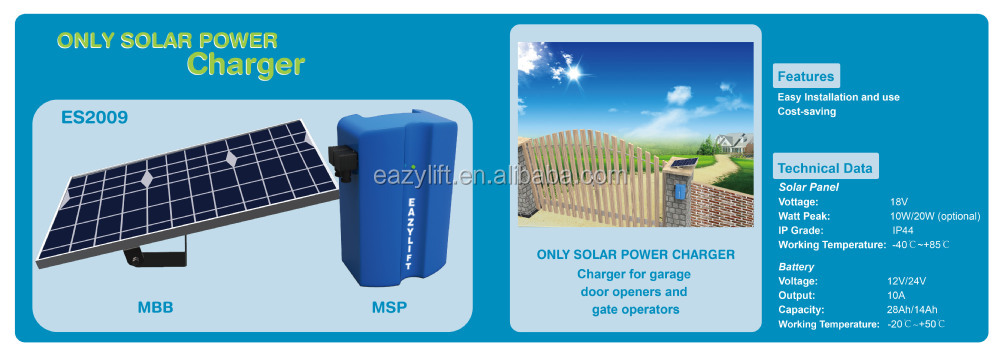 Solar Panel Charging Module For Garage Door Opener Gate Operators