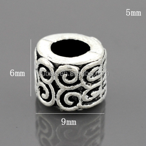 2016 European Large Hole Antique Silver Alloy Charm DIY Beads