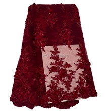 Wine red african lace fabrics tulle beaded lace dubai market french net lace fabric HY0418