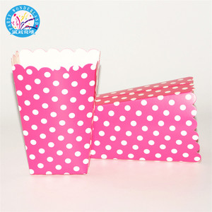 2018 New cute baby shower 6pcs/bag polka dot party theater movie home kids supplies favor disposable paper popcorn box