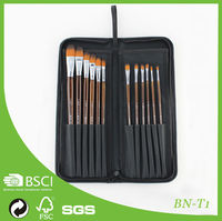 Hot Sell artist paint brush Wholesale Synthetic Long Handle Paint Brushes 12 pcs With Bag