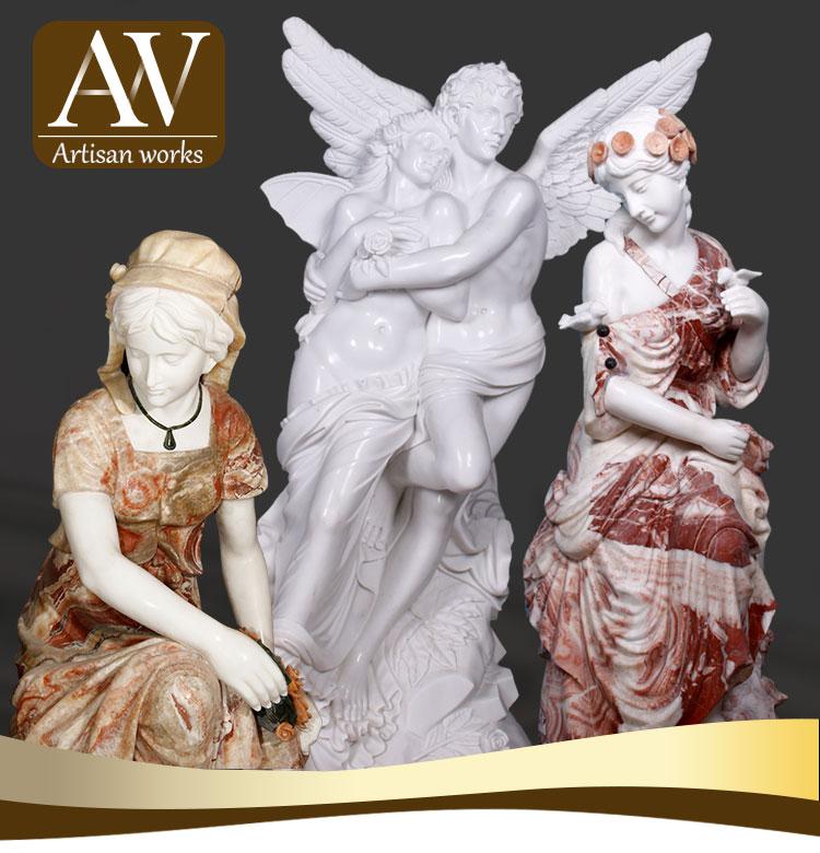 Mükemmel tasarım beyaz bebek mermer taş melek heykelleri