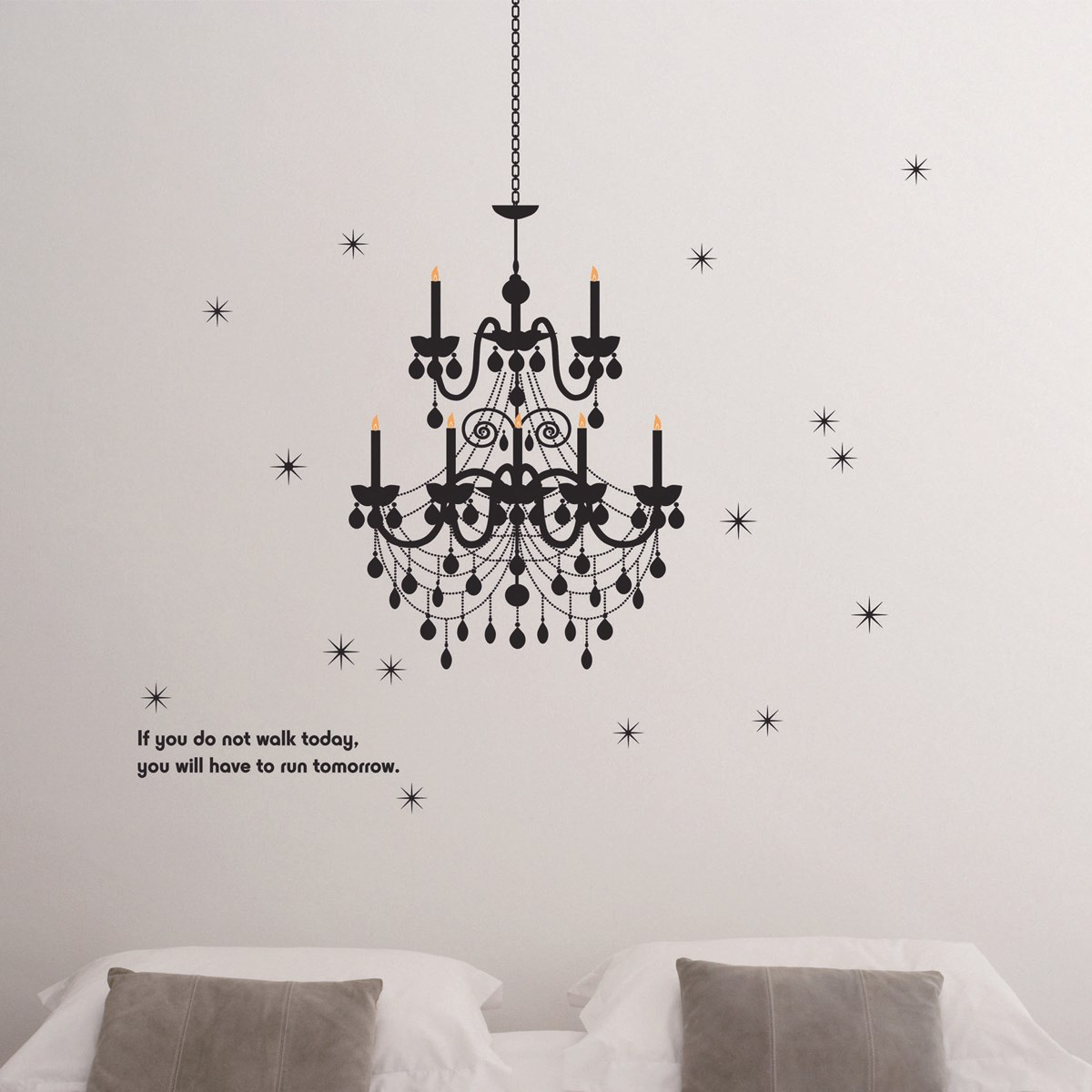 Black Cozy Droplight Stars Wall Stickers PVC Removable DIY Home Art Decor Decal Bedroom Living Room Poster