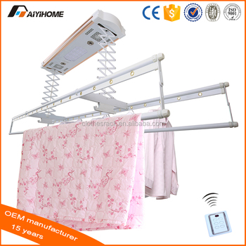 ceiling electric remote automatic lifting clothes drying rack with
