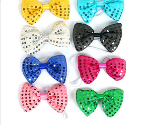 Party Use LED Sparkle Bead Butterfly Bow Tie